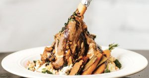 braised lamb shank recipe from Acropolis Mediterranean Grill in Chattanooga Tennessee